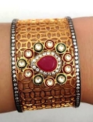 Victorian Gold and Red Stone Kundan Cuff