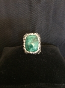 Crystal Treasure Square Ring Green