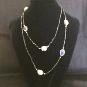 Crystal Treasure Long Strand Pearl Necklace