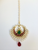 Modern Semi Precious Tikka with Green Center Stone