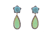Malli Earring in Light Blue and Light Green